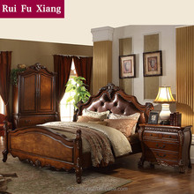 Wooden structure and leather finish double bed for marrige and bedroom furniture sets B-264