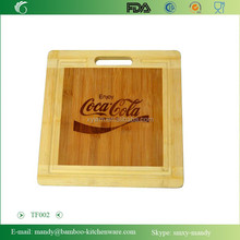 TF002 Delicate Square Bamboo Chopping Board with Laser- logo