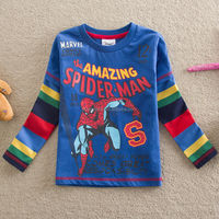 2-6Y (T2108#NAVY)Kids wear supplier toddler clothing spiderman t shirt for boy