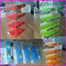 Rotating 8-boxes Acrylic Phone Accessories Holder Home/Car/Wall Charger Stand Wholesale USB Charger Power Bank Display Case
