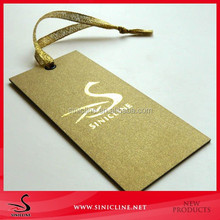 Sinicline All Gold Thick Paper Garment Tag with Gold String and Metal Eyelet