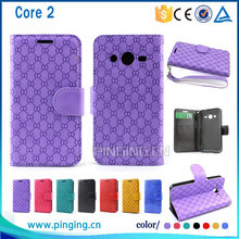 top selling fashion wallet leather flip case cover for samsung galaxy core 2 g355h