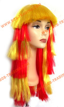 Hot sale cheap afro football fan wigs human hair falls