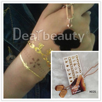 2015 Dearbeauty Gold Fashion jewel quality Tattoo /Temporary color metallic body tattoNew style /rose gold tattooo
