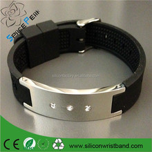 Promotion Titanium erengy silicone band passed FDA men stainless steel crystal bio magnetic bracelet