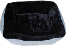 2015 100% polyester grey and black square dog bed