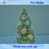 """6"""" colorful egg decorated artificial plastic tree for Easter decoration from Shenzhen factory"""