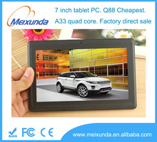 """Factory sales 7"""" tablet Q88 android 4.4 Allwinner A33 quad core android tablet pc"""