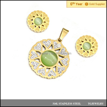 round circle diamond agate yellow gold color stainless steel son flower heart jewelry sets with white plaster