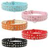 Leather diamond studded dog collars Rhinestone Bling Pet Dog Collar