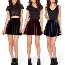 Saias Femininos Fashion Fall Elegant Ladies Newest Desigual Solid Color Pleated Sexy Mini Velvet Short Skirt