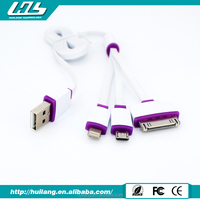 Huiloon Top selling 3 in1 USB charger cable for 30pin/mini/micro connector cable
