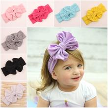 Hot sales baby girl big bow cotton headband Knot infant toddler tube elastic headband girls knitting headbands