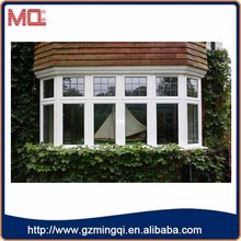 Guang dong white color pvc window/double glazing pvc fixed window grill design