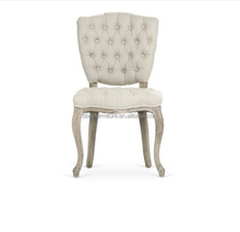 Solid wood dining chair button tufted fabric dining chair