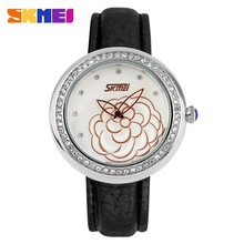 flower fairy amazing lady watch,japan movement genuine leather strap clock