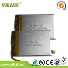 854460 li po battery lithium cell battery 3.7V 2600mAH battery tablet PC