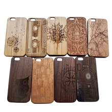 hot sale pc bottom case for iphone 6, for iphone6 carved wooden cell phone case