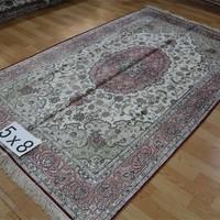 5x8 Chinese Light Color Hand-made Stylish Pure Silk Turkey Modern Carpet