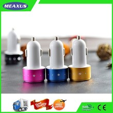 Hot sale !2015 modern design aluminum colorful dual micro usb car charger for iphone for samsung