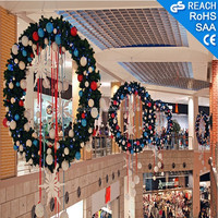Christmas ball wreath for shopping mall,artificial grass/ribbon decoration