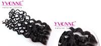 Перуанские волосы закрытия, итальянский вьющиеся человеческих волос кружева закрытие 4 x 4, 10-20 дюймов aliexpress Ивонн волосами, цвет 1b