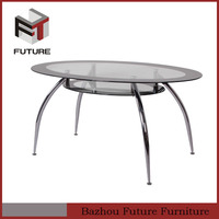 modern glass chromed metal legs round dining table 4 legs