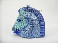 Horse Crystal metal Bridal Lady fashion Wedding hard clutch bag Evening purse box handbag case
