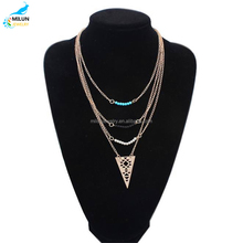 Latest design blue beads V three sets of chain neckalce for women jewelry