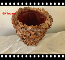 Handicraft Rattan Tree Bark Material Chape Laundry Wooden Basket Crafts used for Garden Decoration