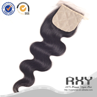 Real mink natural color brazilian virgin hair body wave silk base closure