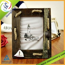 Mediterranean style Rope string wooden photo frame picture frames