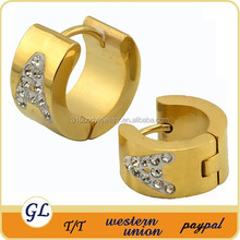 Ethiopian jewelry stainless steel gold plated earrings with crystal earring chinese suppliers of jewelry