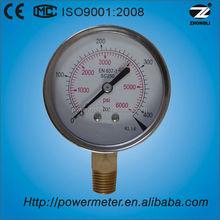 "4""100mm stainless steel case brass bottom connection bourdon tube hydraulic pressure gauge"