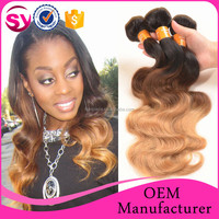 3 Tone Color Ombre Hair Extension 1b/33/27 Color Three Tone Ombre Brazilian Hair Weave Wet and Wavy