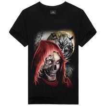 RT New Arrival 2015 Summer Creative 3d Printed Skull T Shirt Men 100% Cotton Men's Slim Fit Causul Brand Mens Shirt Sport Tees