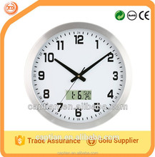 """12"""" Metal round Wall Clock with LCD display for home gift"""