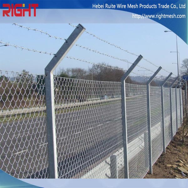 Quality products security chain link fences with barbed