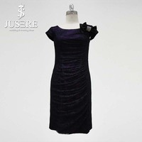 Elegant Sheath Lace Short Mother Of The Bride Dresses Pleated Lavender Wedding Events Dress With Capsleeve