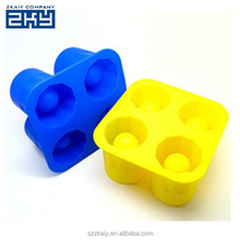 ZKY-0286 Create Your Own Ice Shots Glass Shooter Silicone Party Tray Mold 4 Cavity Silicone Ice Cube Tray