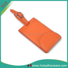 Summer Personality Fashion Orange Soft Trifold Leather Business Luggage Tag