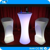 Rechargeable plastic LED light up bar stool high chairs / color change LED magic chair light