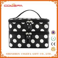 2015 fashion handbag Double Layer Makeup Bag Dot Pattern Travel Toiletry Bag Organizer With Mirror (Black)
