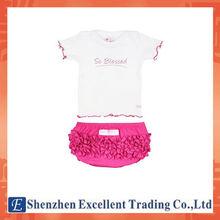 Nova chegada aceno bainha t-shirt de renda calcinha roupas de bebê