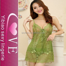New Arrvial Lace Transparent Hot Night Wear Sexy Sling Lingerie Mature Women