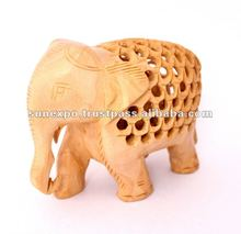 Hand Crafted Indian Royal Elephant Wooden Jali Carving Sculpture