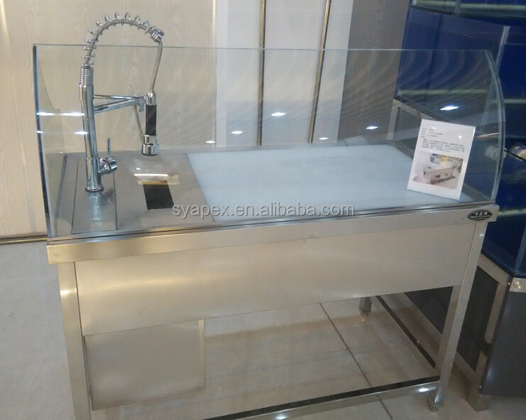 Apex custom make supermarket luxury faucet stainless steel sink front curve glass fish cleaning - Stainless steel table with sink and faucet ...
