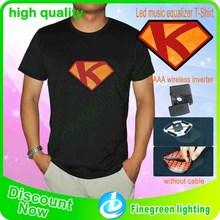 Wholesale Custom El Sound Activated T shirt flashing EL t shirts