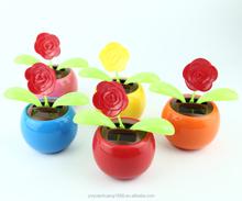solar apple flower toy rose swing flip flap dancing flowers, car decorative gift sun doll factory wholesale