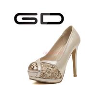 GD peep toe high heel women mature 2015 fashion lace sandals shoes